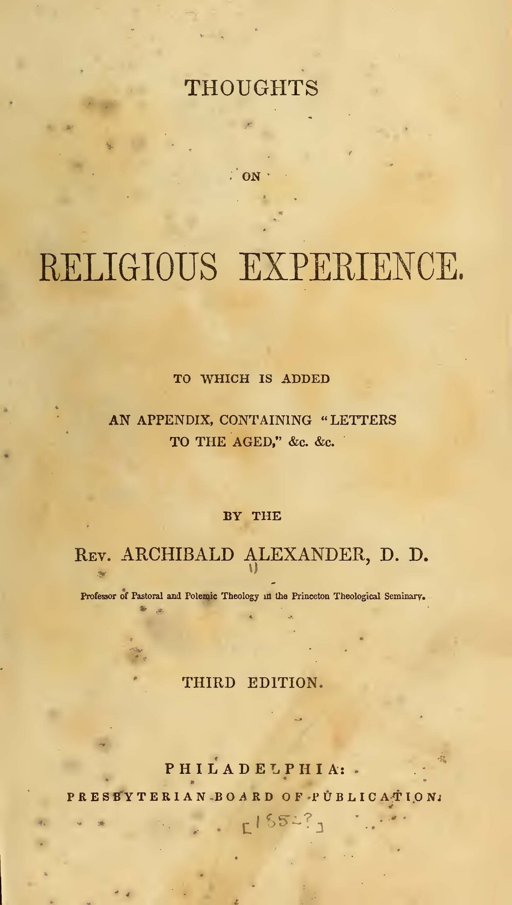 Alexander, Archibald, Thoughts on Religious Experience with Appendix Title Page.jpg