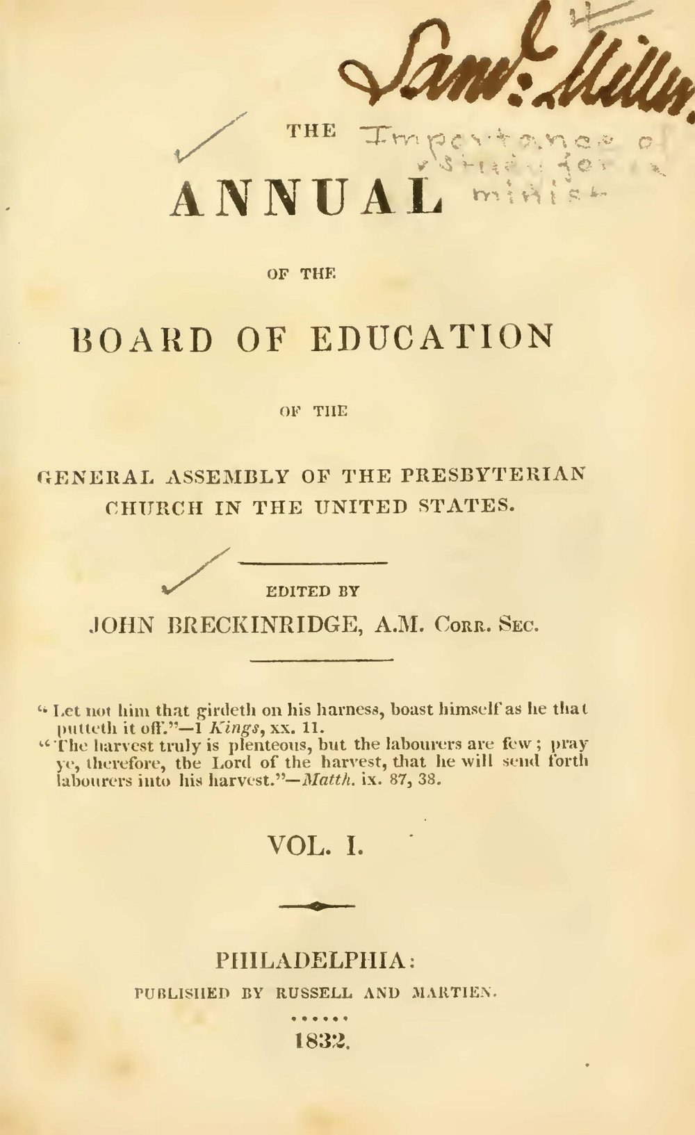 Breckinridge, John, Introductory Address Title Page.jpg