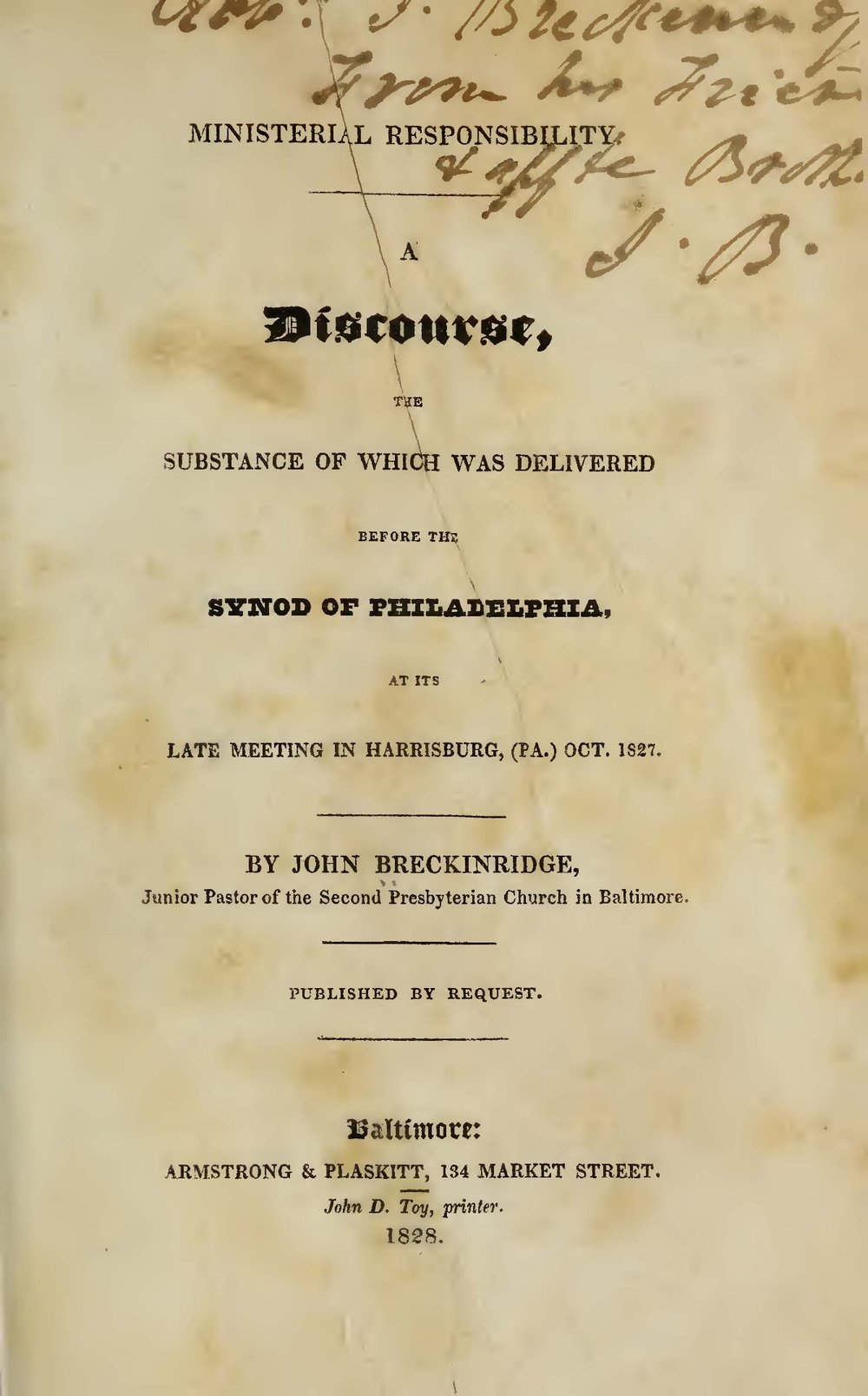 Breckinridge, John, Ministerial Responsibility Title Page.jpg