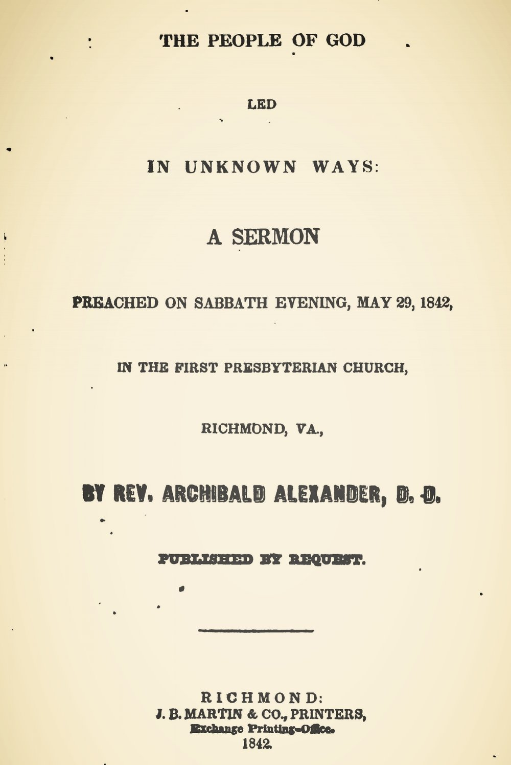 Alexander, Archibald, The People of God Led in Unknown Ways Title Page.jpg