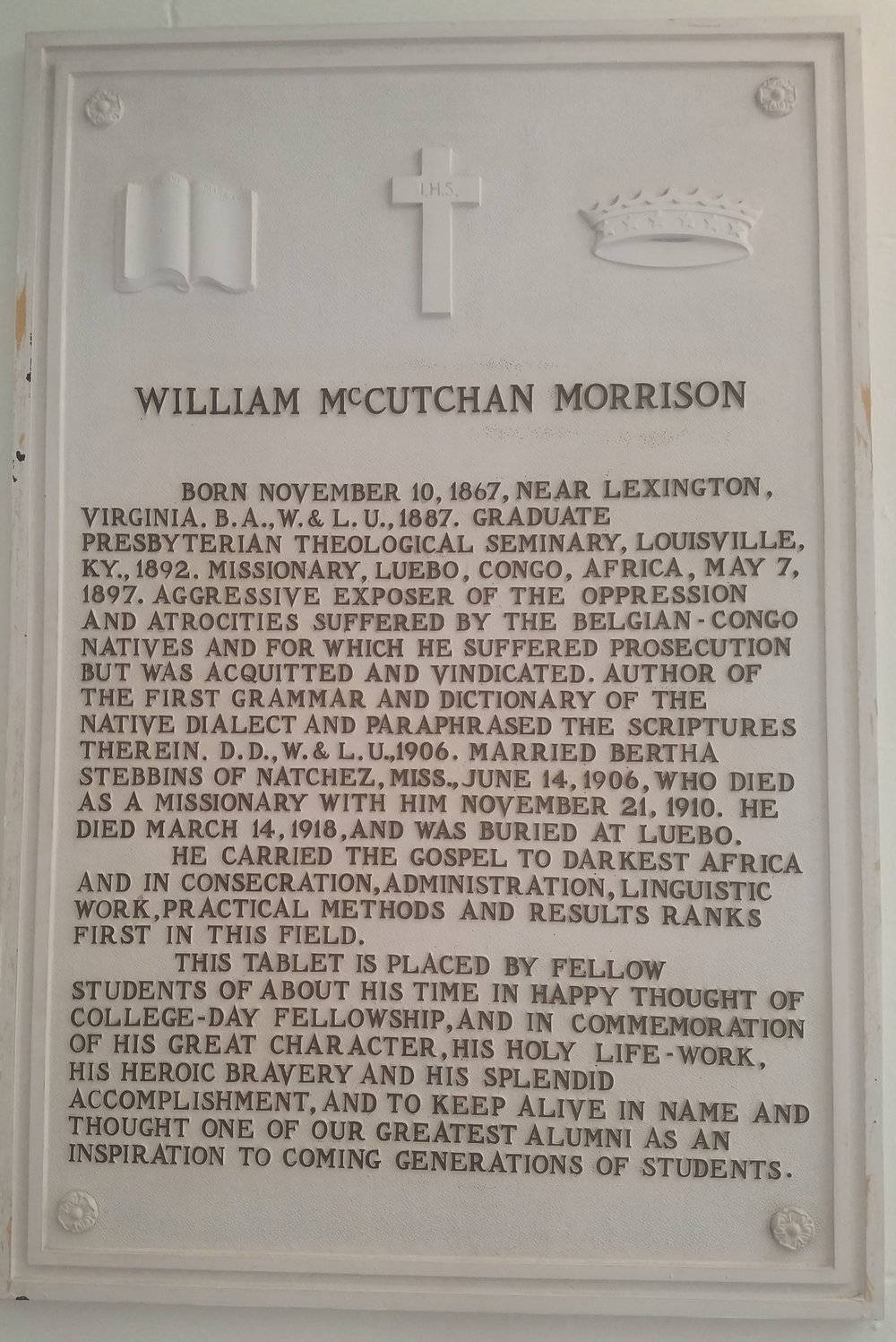 Memorial to William McCutchan Morrison in the Lee Chapel, Lexington, Virginia. Photograph by R. Andrew Myers.