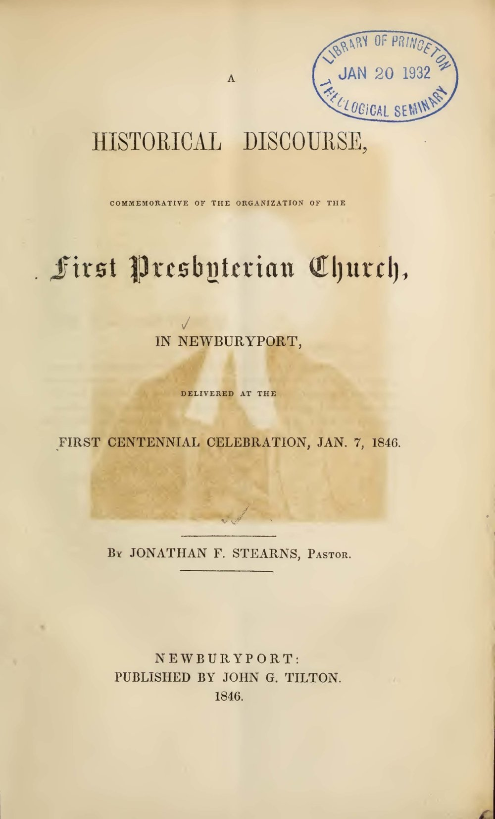 Stearns, Jonathan French, A Historical Discourse Commemorative Title Page.jpg