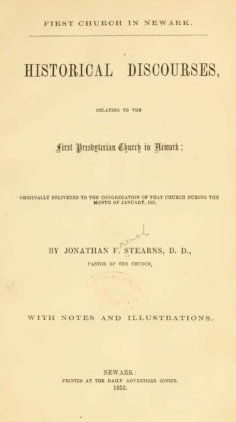 Stearns, Jonathan French, First Church in Newark Historical Discourses Title Page.jpg