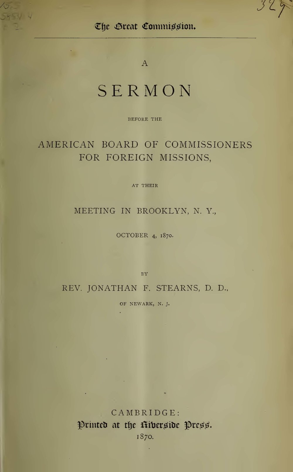 Stearns, Jonathan French, The Great Commission A Sermon Title Page.jpg