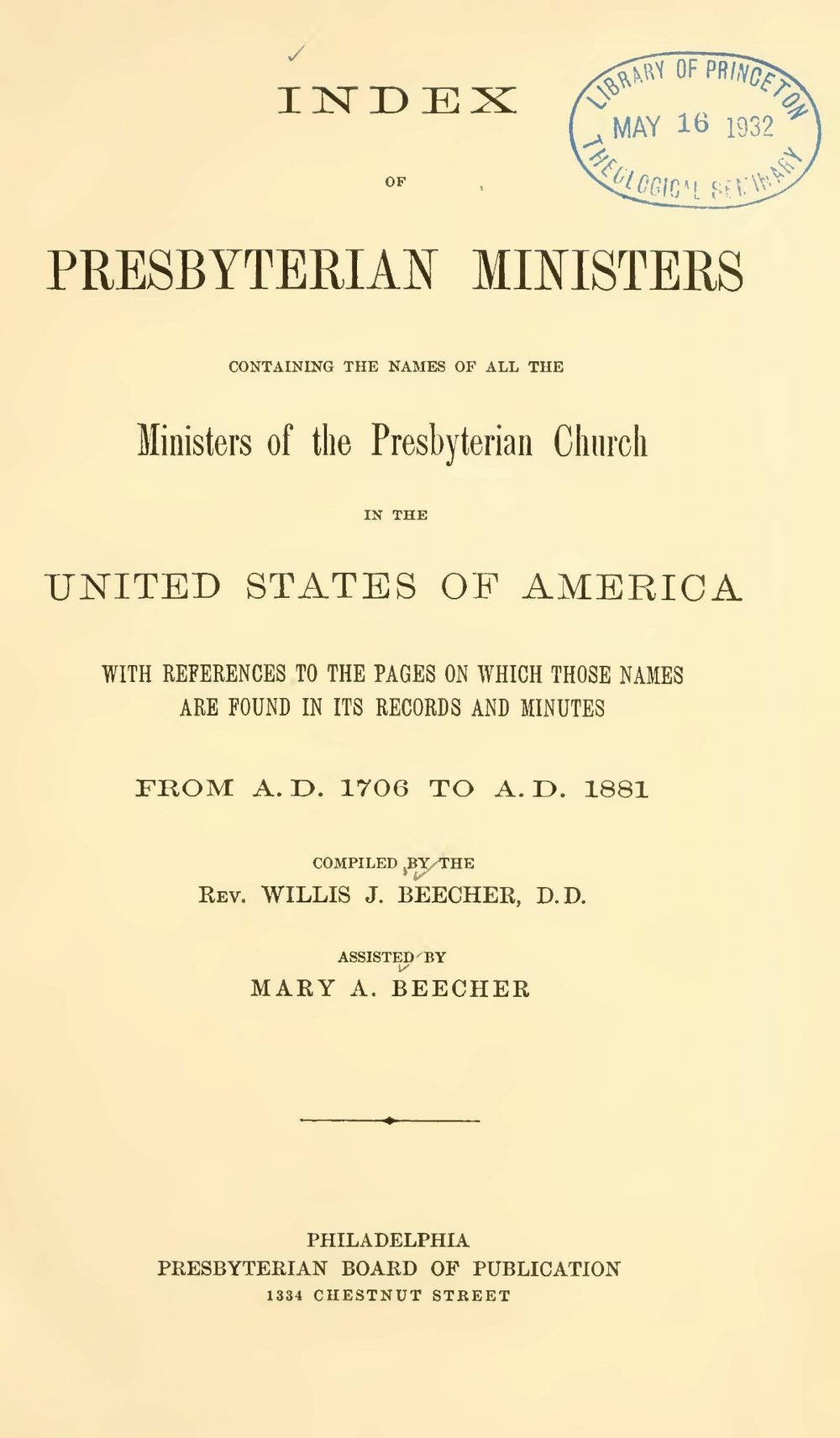Beecher, Willis Judson, Index of Presbyterian Ministers Title Page.jpg