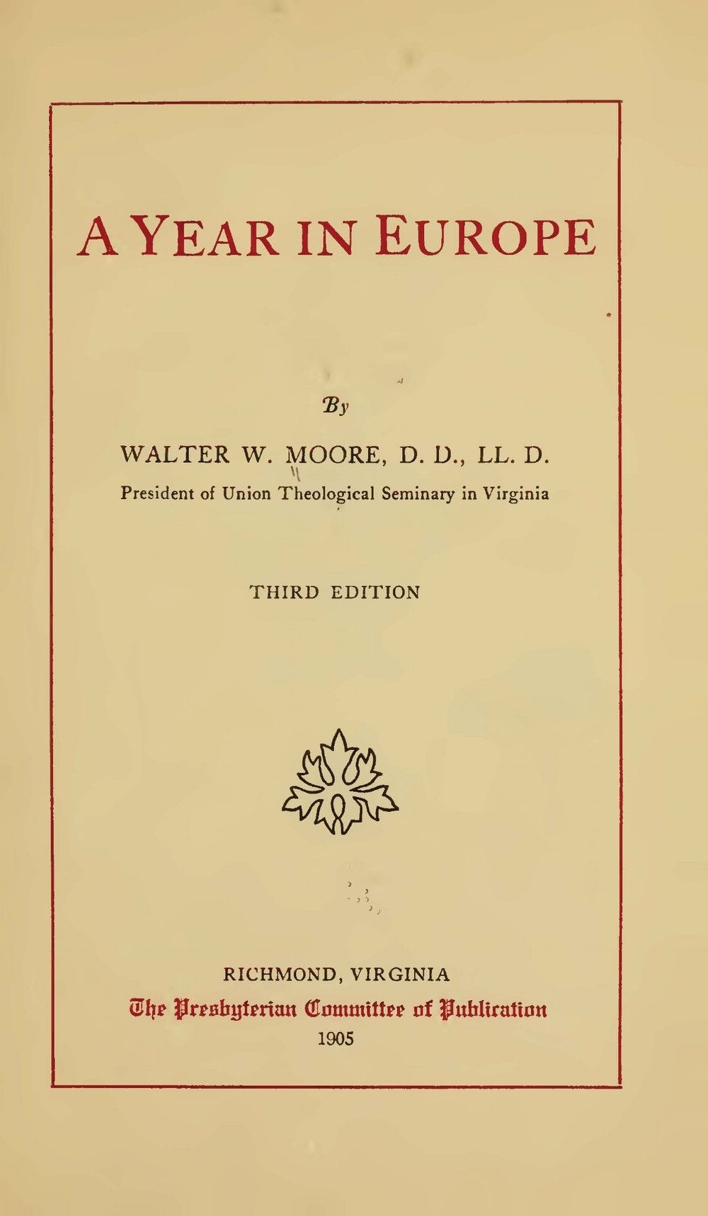 Moore, Walter William, A Year in Europe Title Page.jpg
