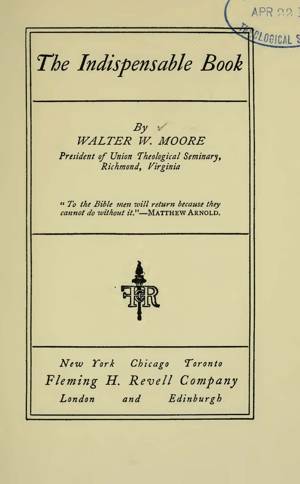 Moore, Walter William, The Indispensible Book Title Page.jpg