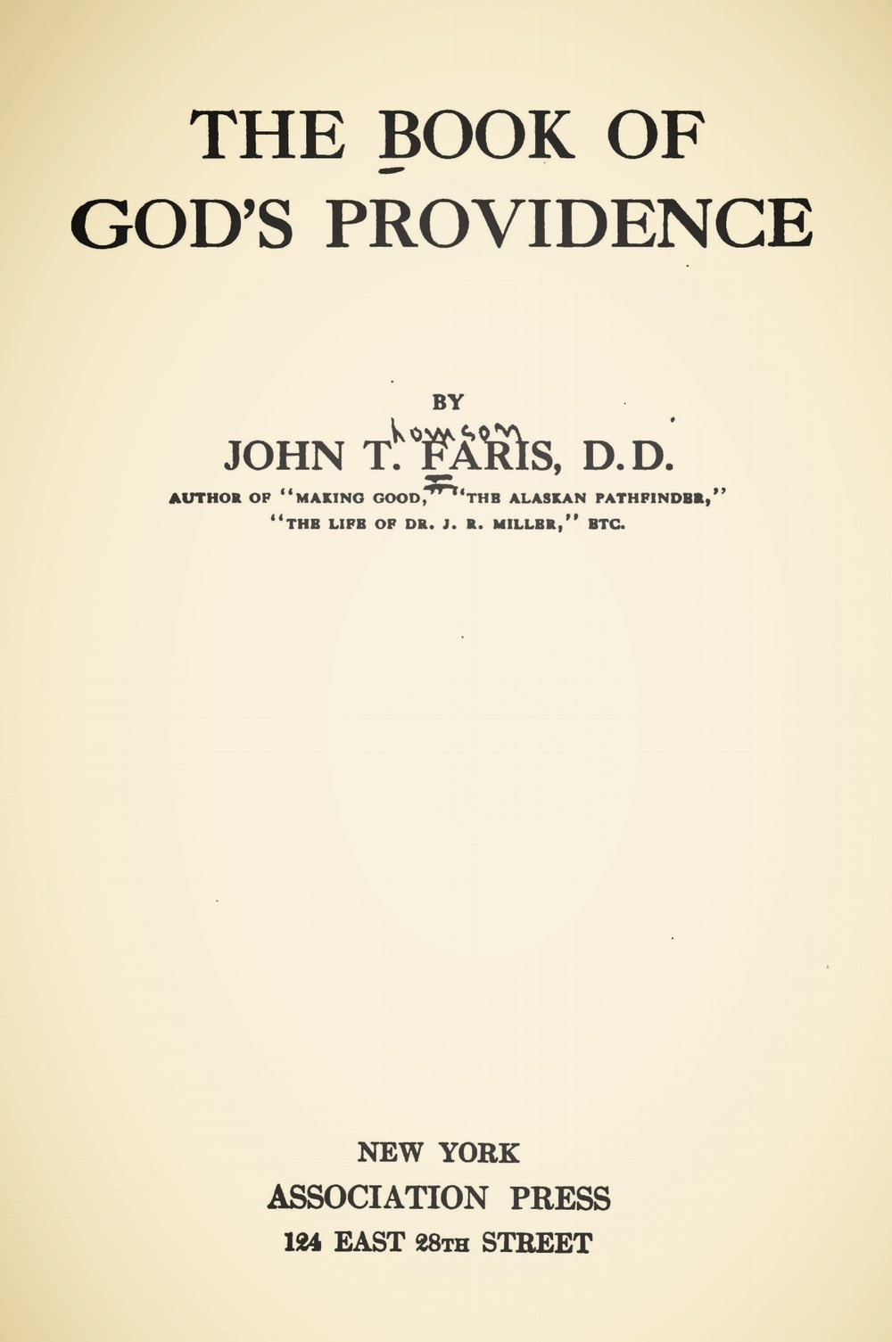 Faris, John Thomson, The Book of God's Providence Title Page.jpg