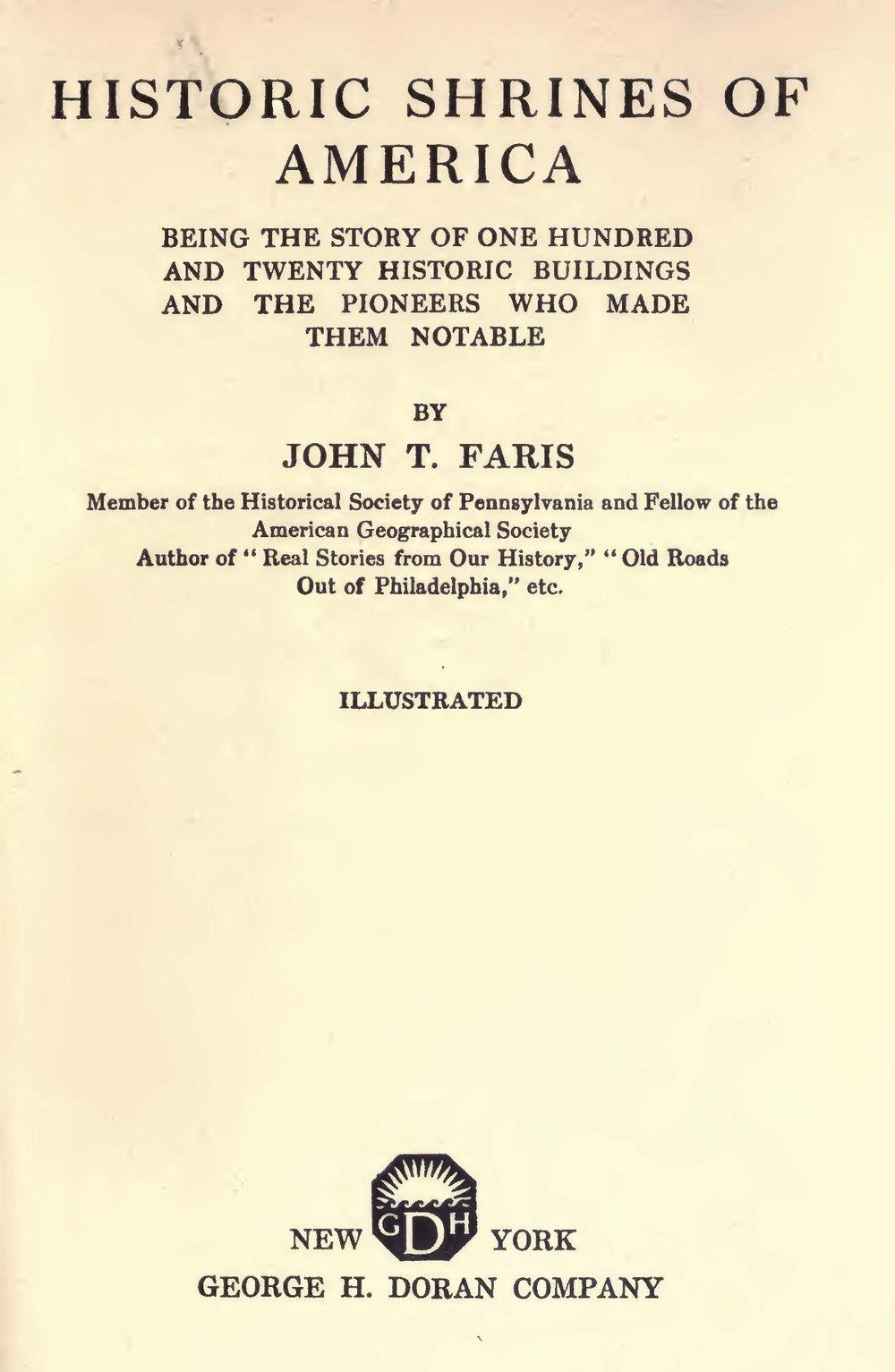 Faris, John Thomson, Historic Shrines of America Title Page.jpg