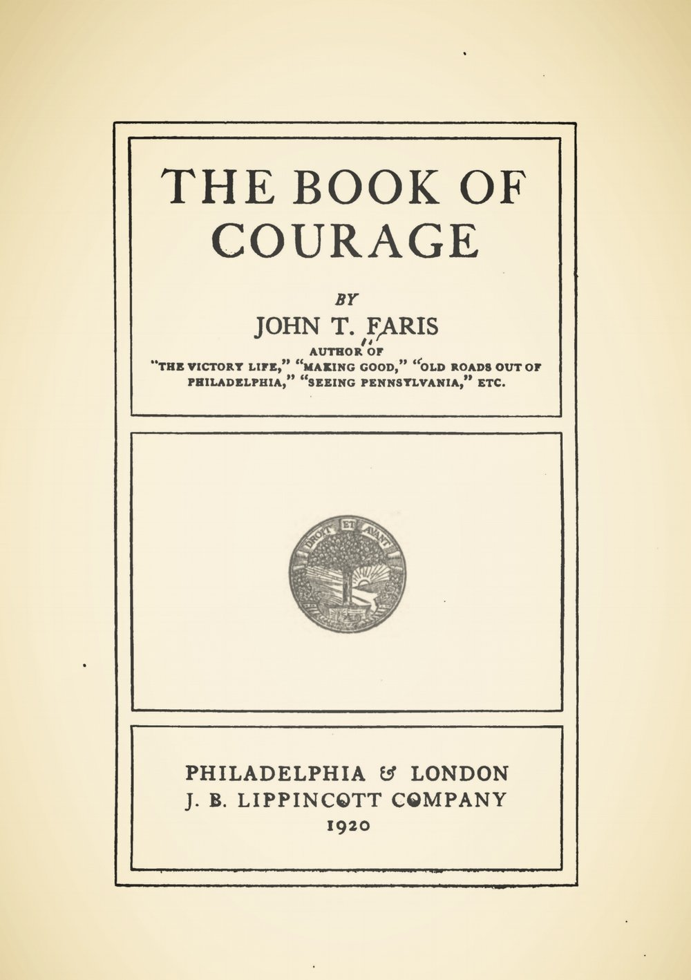 Faris, John Thomson, The Book of Courage Title Page.jpg