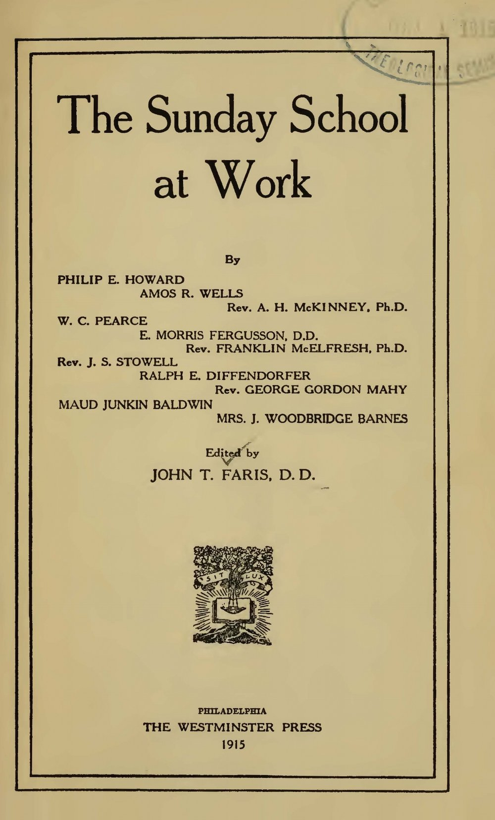 Faris, John Thomson, The Sunday School at Work Title Page.jpg