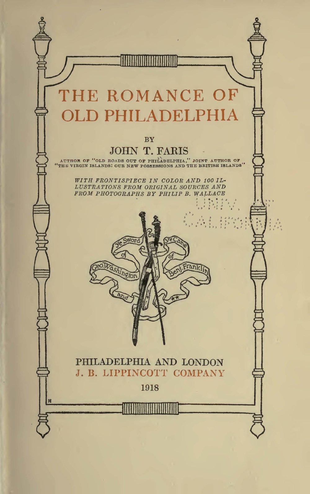 Faris, John Thomson, The Romance of Old Philadelphia Title Page.jpg