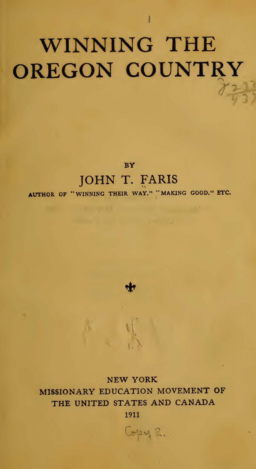 Faris, John Thomson, Winning the Oregon Country Title Page.jpg