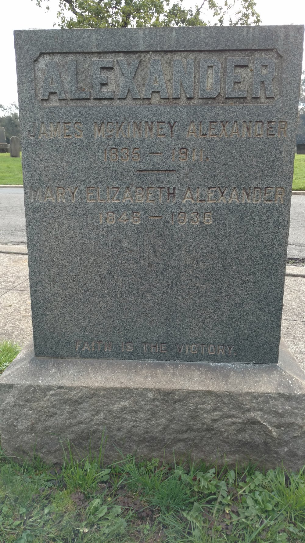 James McKinney Alexander is buried at Mountain View Cemetery, Oakland, California.