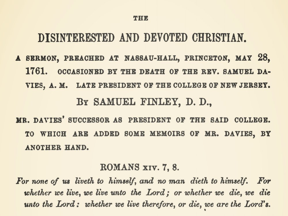 Finley, Samuel, A Funeral Sermon on the Death of Mr. Davies Title Page.jpg