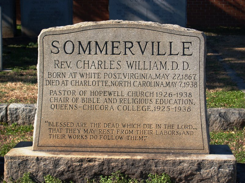 Charles William Sommerville is buried at Hopewell Presbyterian Church Cemetery, Huntersville, North Carolina.