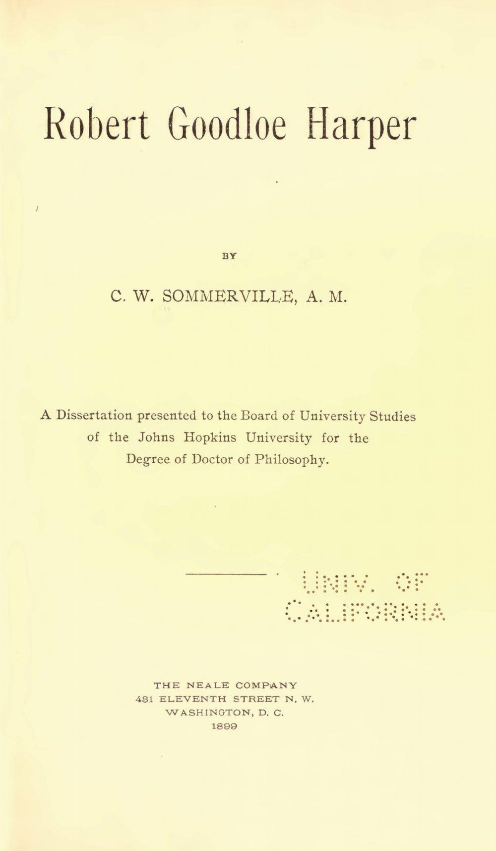 Sommerville, Charles William, Robert Goodloe Harper Title Page.jpg