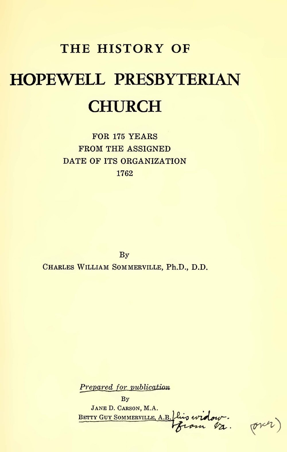 Sommerville, Charles William, The History of Hopewell Presbyterian Church Title Page.jpg