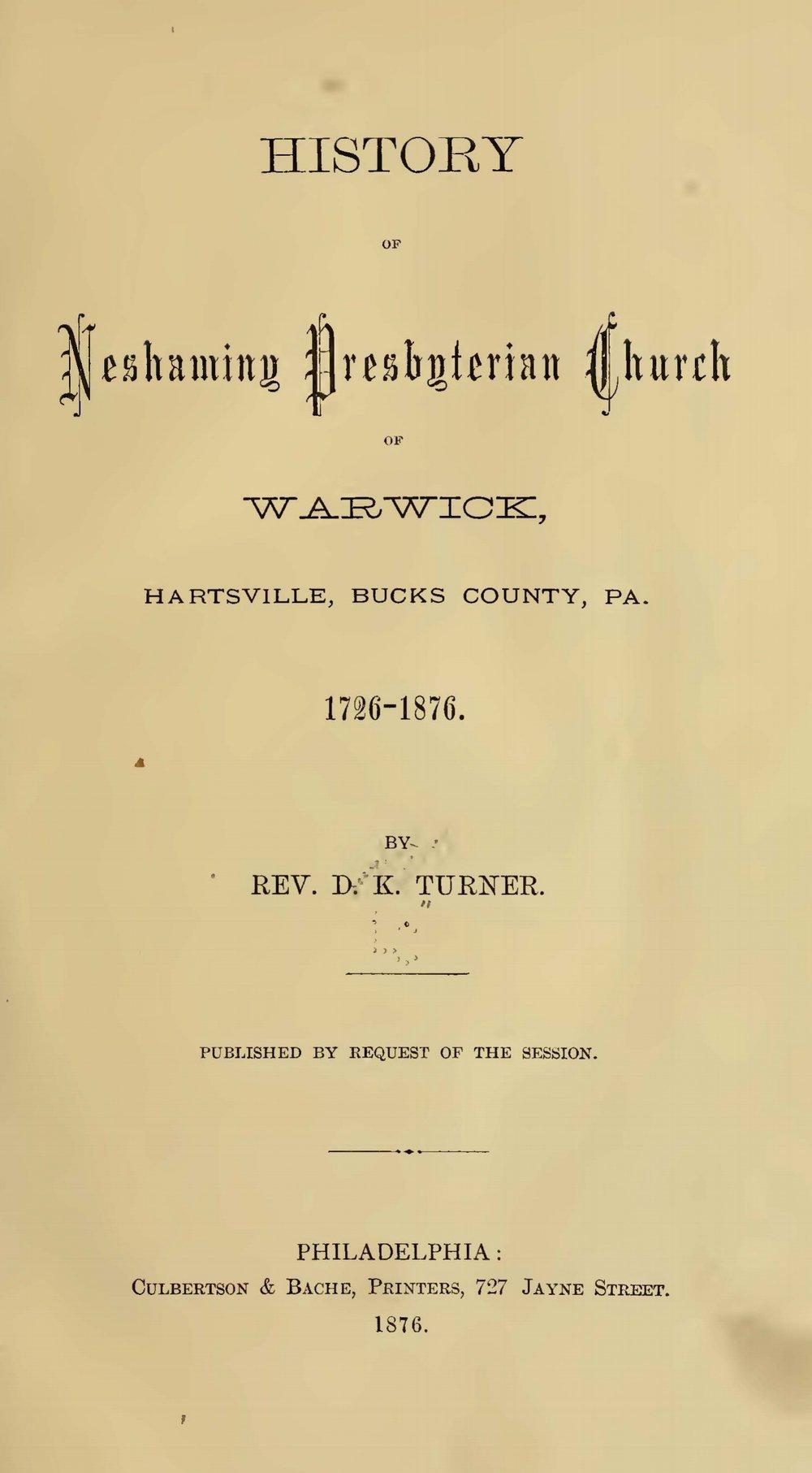 Turner, Douglas Kellogg, History of Neshaminy Presbyterian Church Title Page.jpg