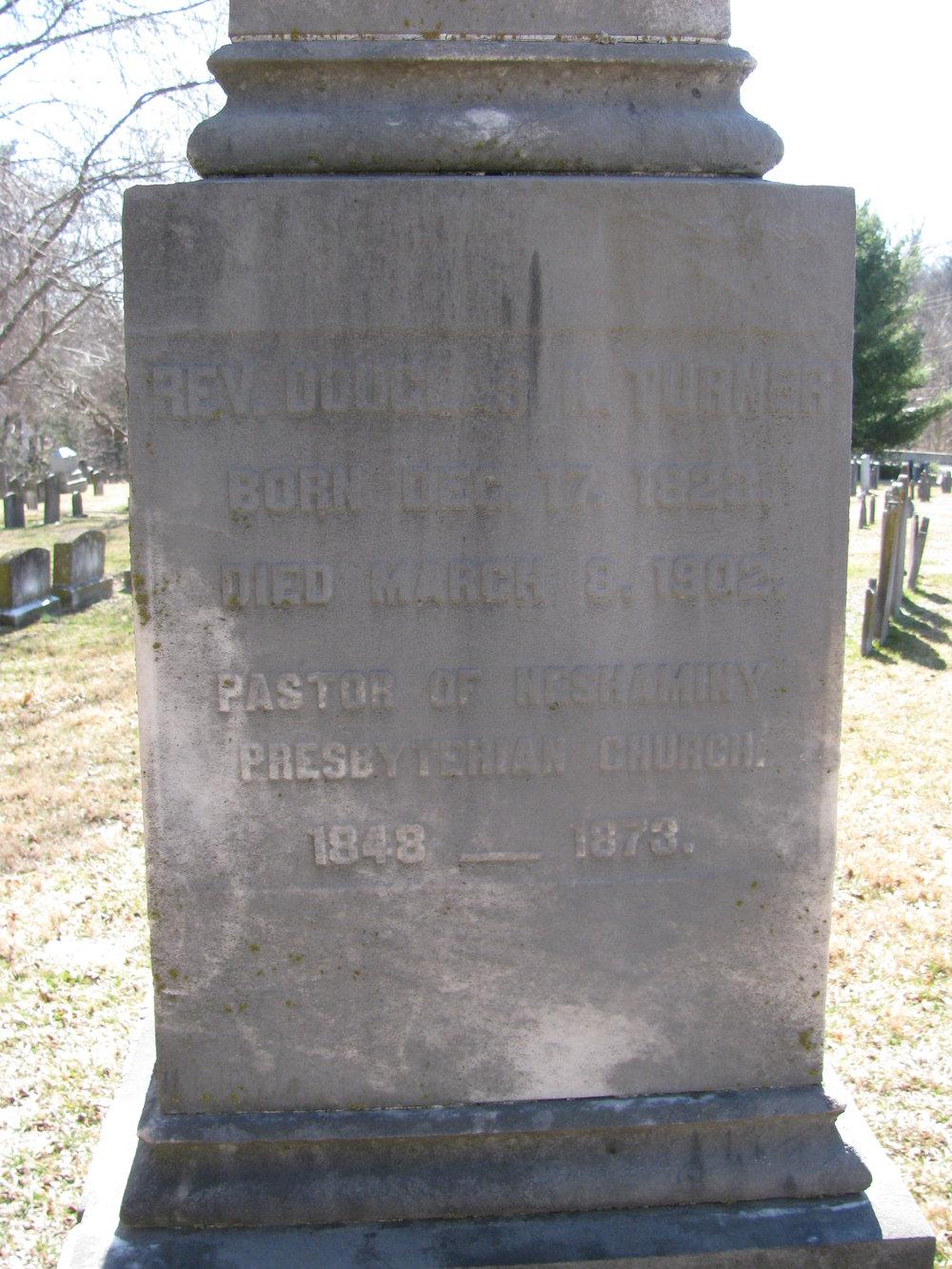 Douglas Kellogg Turner is buried at Neshaminy Cemetery, Hartsville, Pennsylvania.