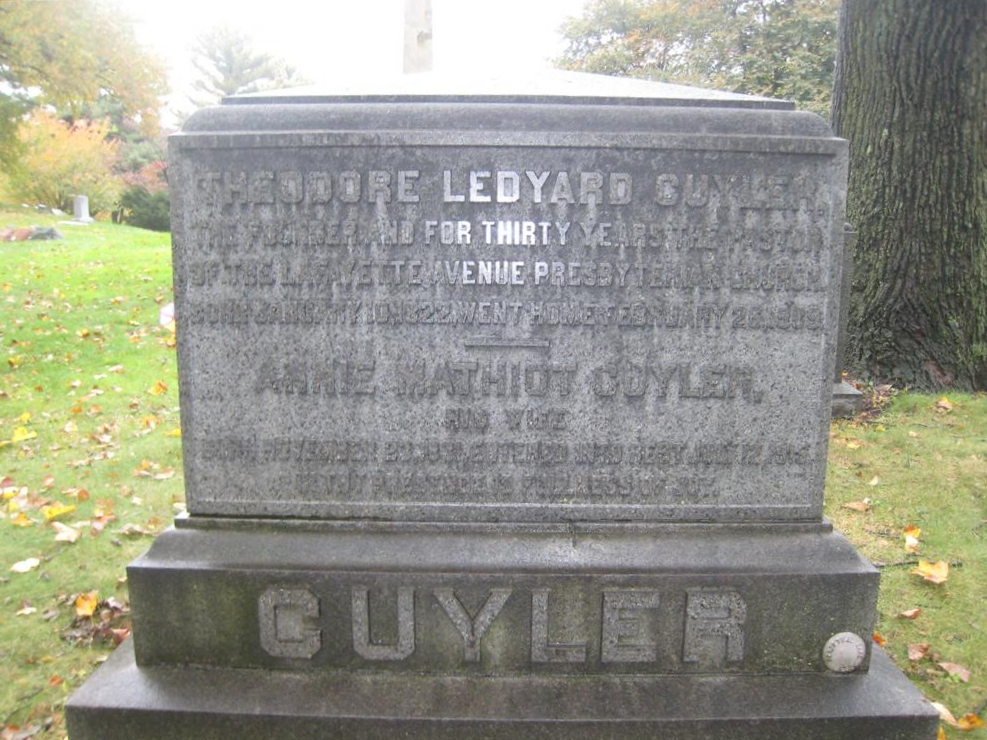 Theodore Ledyard Cuyler is buried at Green-Wood Cemetery, Brooklyn, New York.