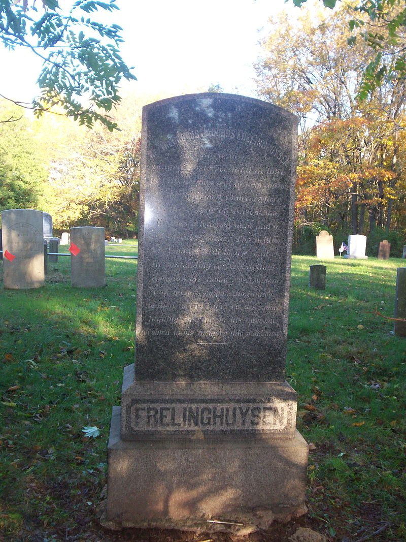A centopah at t Elm Ridge Cemetery, North Brunswick, New Jersey memorializes where Theodorus Jacobus Frelinghuysen is buried.