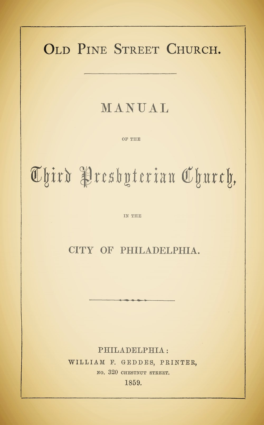 Brainerd, Thomas, Old Pine Street Church Manual Title Page.jpg