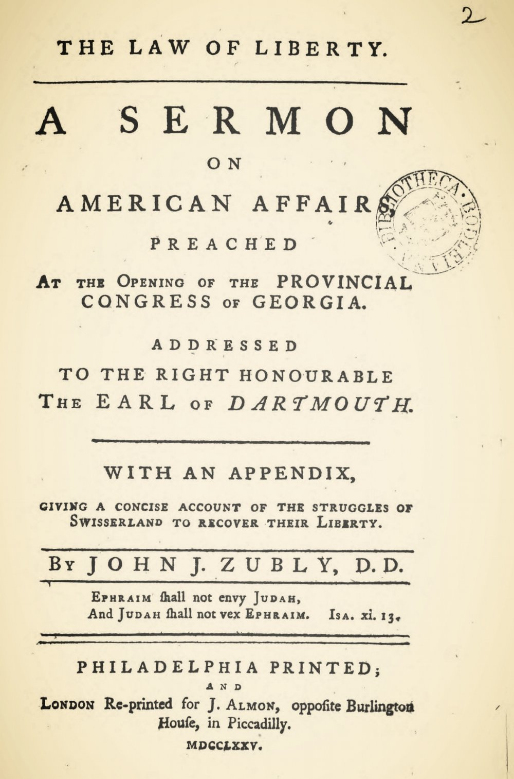 Zubly, John Joachim, The Law of Liberty Title Page.jpg