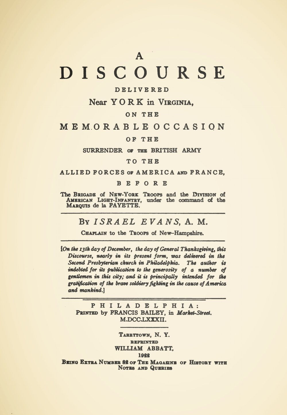 Evans, Israel, A Discourse Delivered Near York Title Page.jpg
