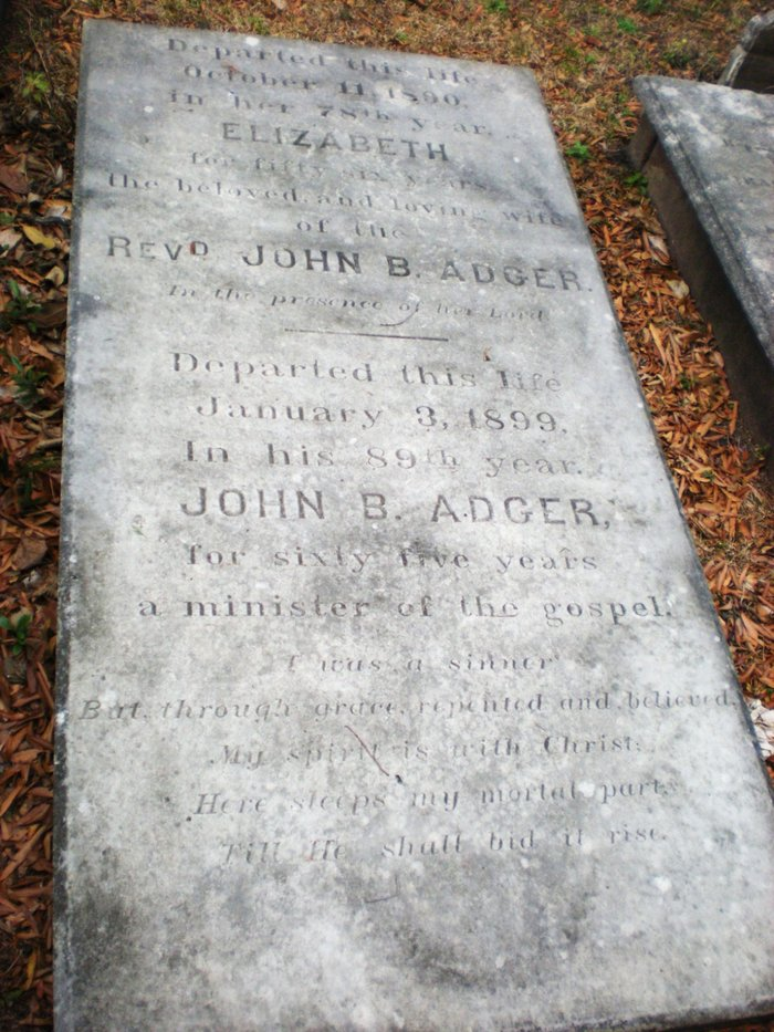 John Bailey Adger is buried at Second Presbyterian Church Cemetery, Charleston, South Carolina.