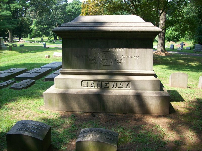 Jacob Jones Janeway is buried at Elmwood Cemetery, New Brunswick, New Jersey.