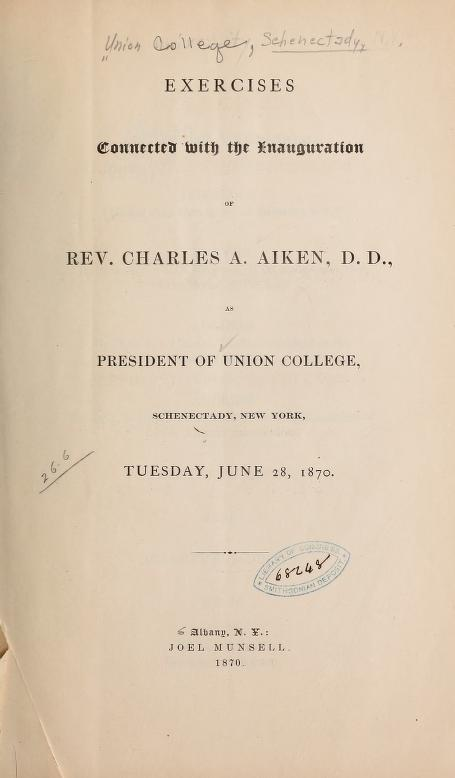 Aiken, Charles - Inaugural at Union College.jpg