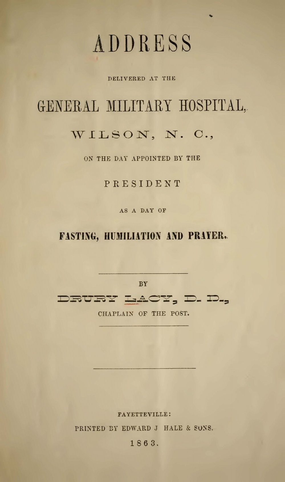 Lacy, Jr., Drury, Address Delivered at the General Military Hospital Title Page.jpg