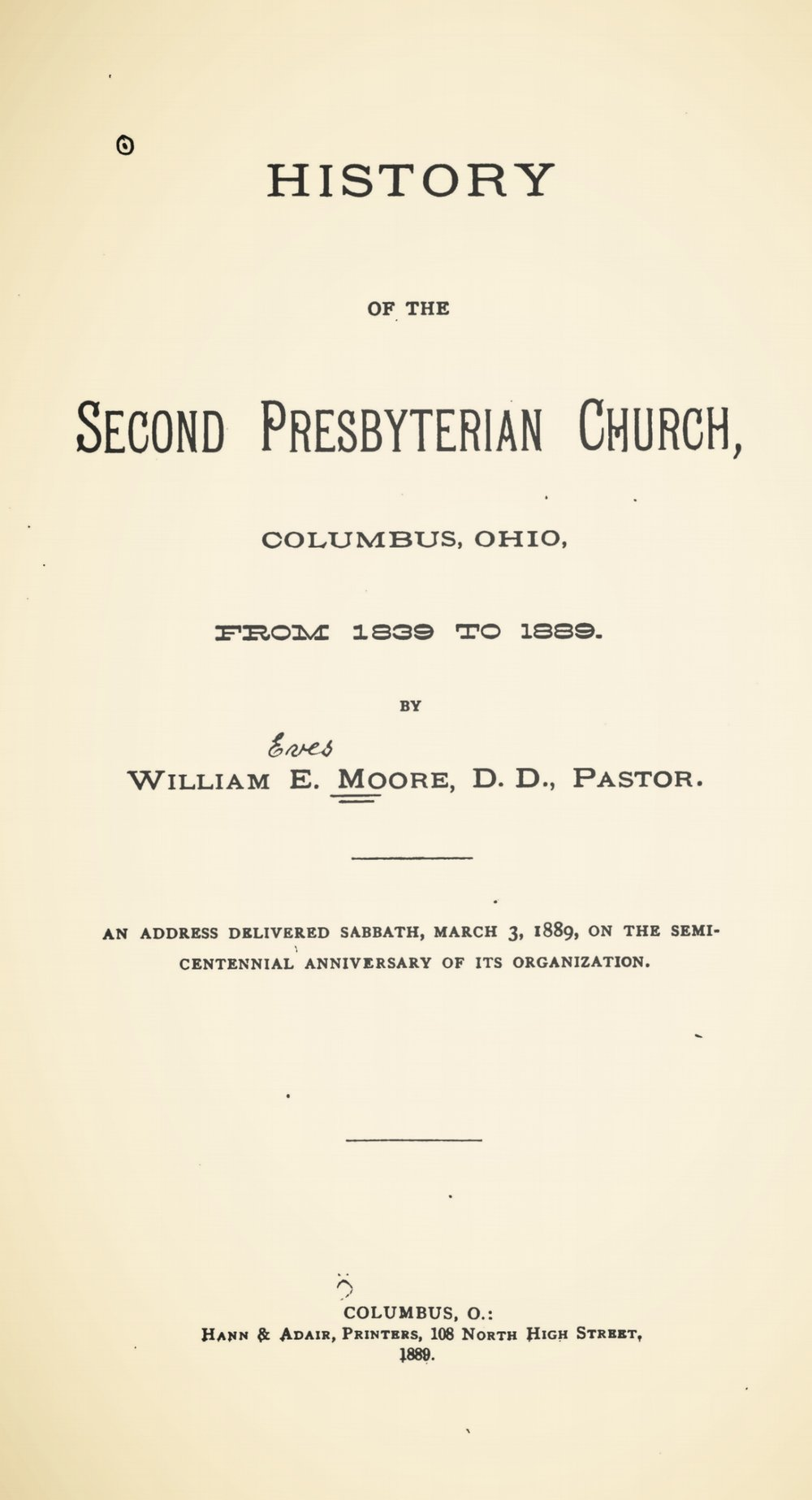Moore, William Eves, History of the Second Presbyterian Church, Columbus, Ohio Title Page.jpg