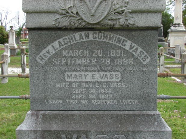 Lachlan Cumming Vass is buried at Cedar Grove Cemetery, New Bern, North Carolina.