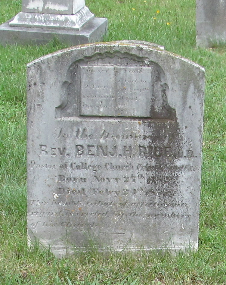 Benjamin Holt Rice is buried at Union Theological Seminary Cemetery, Hampden Sydney, Virginia.