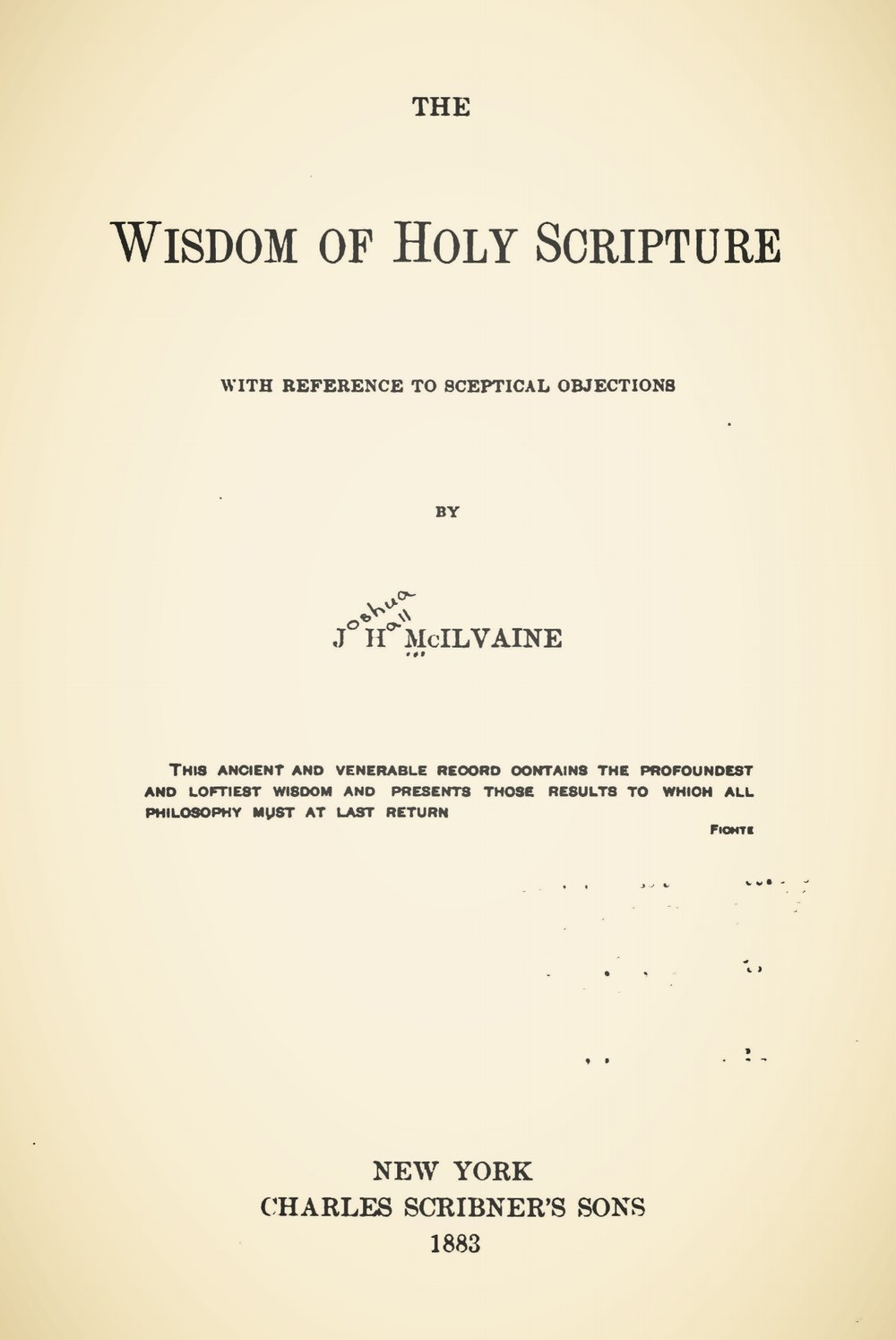 McIlvaine, Joshua Hall, The Wisdom of Holy Scripture Title Page.jpg