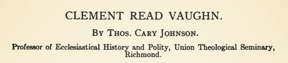 Johnson, Thomas Cary, Clement Read Vaughn Title Page.jpg