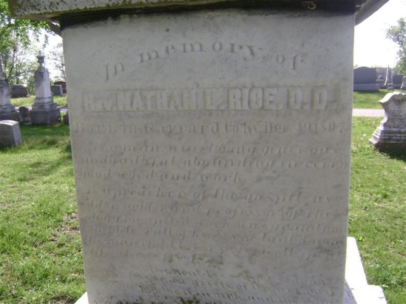 Nathan Lewis Rice is buried at Hillcrest Cemetery, Fulton, Missouri.
