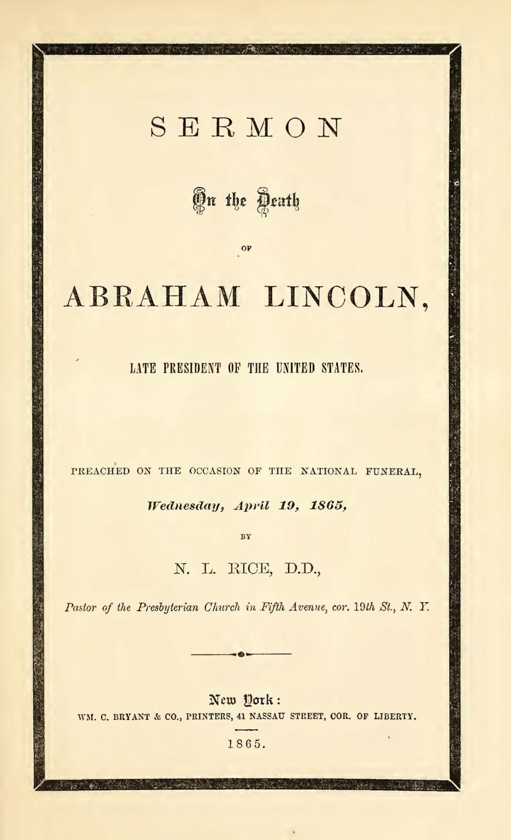 Rice, Nathan Lewis, Sermon on the Death of Abraham Lincoln Title Page.jpg