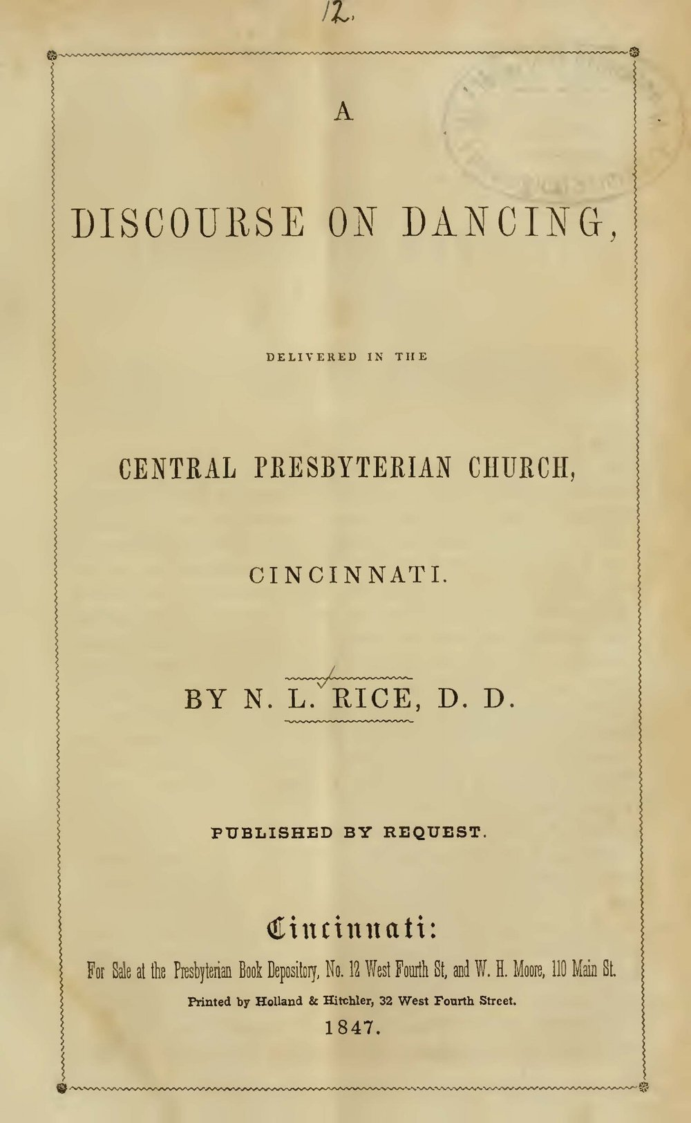 Rice, Nathan Lewis, A Discourse on Dancing Title Page.jpg