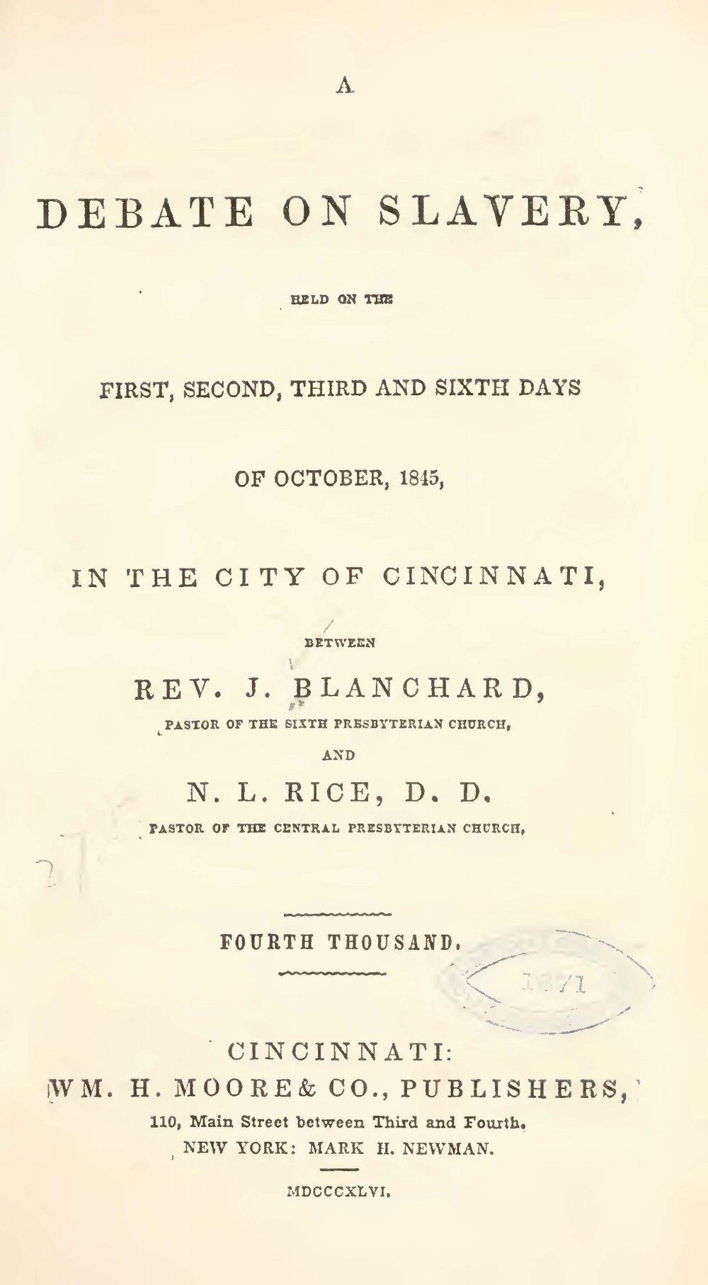 Rice, Nathan Lewis, A Debate on Slavery Title Page.jpg