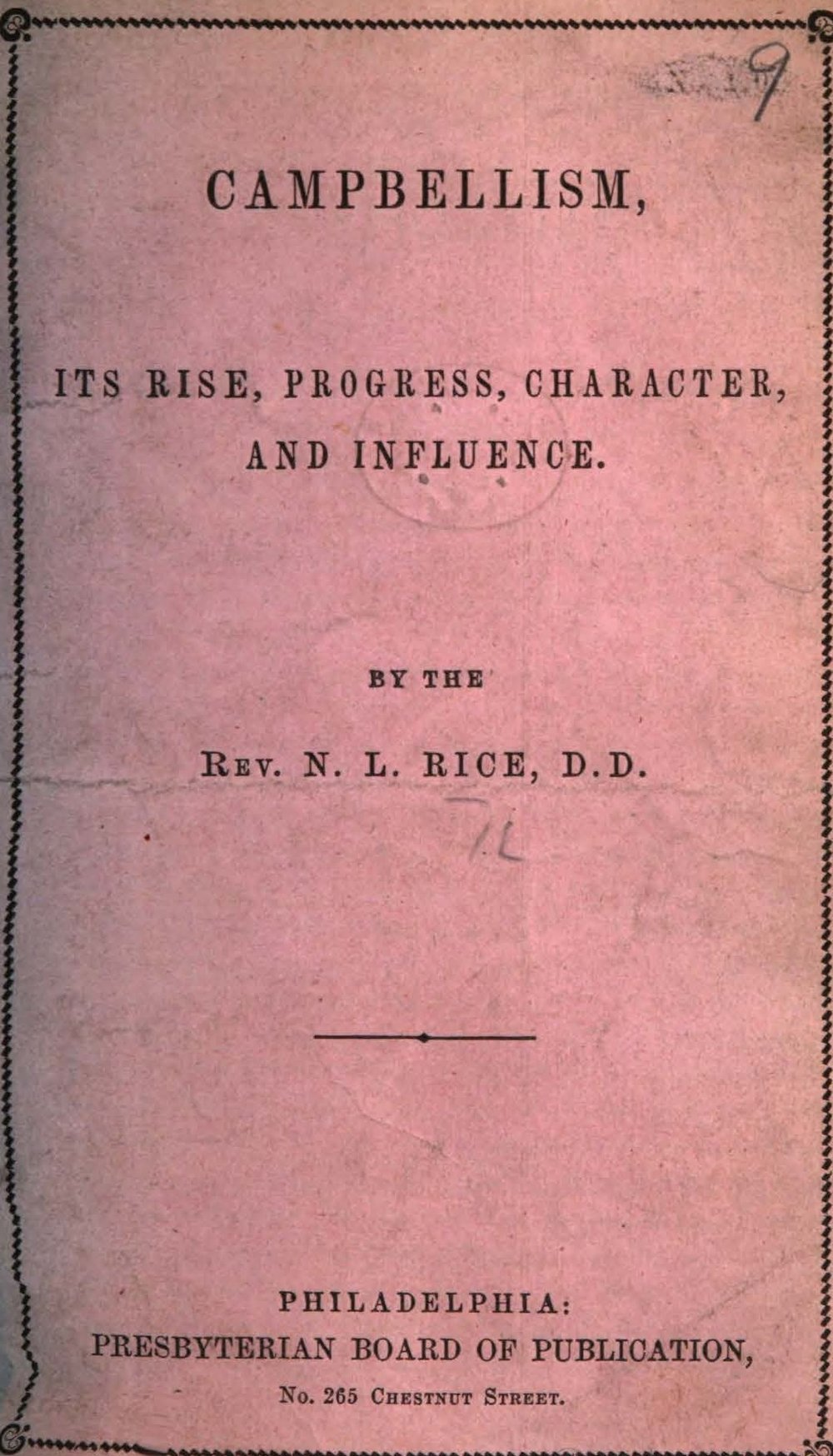 Rice, Nathan Lewis, Campbellism Its Rise, Progress, Character, and Influence Title Page.jpg