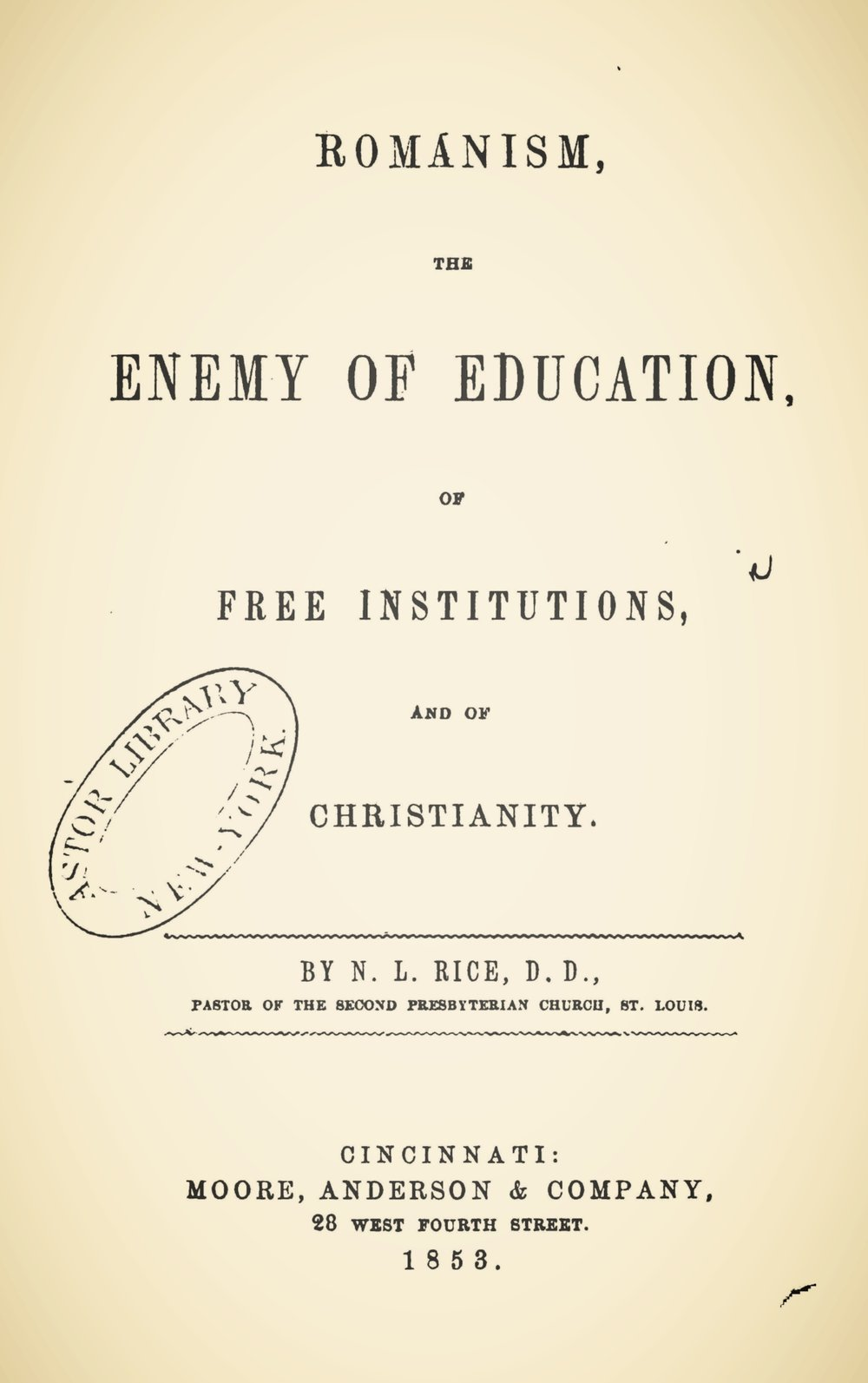 Rice, Nathan Lewis, Romanism, the Enemy of Education Title Page.jpg