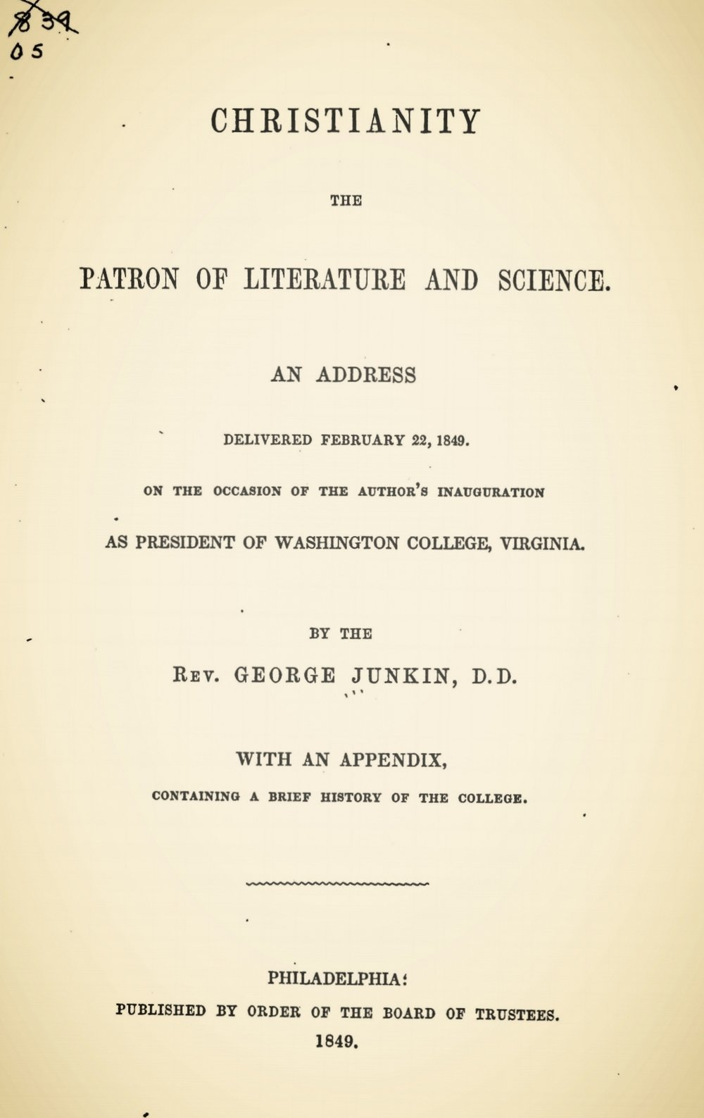 Junkin, George, Christianity the Patron of Literature and Science Title Page.jpg