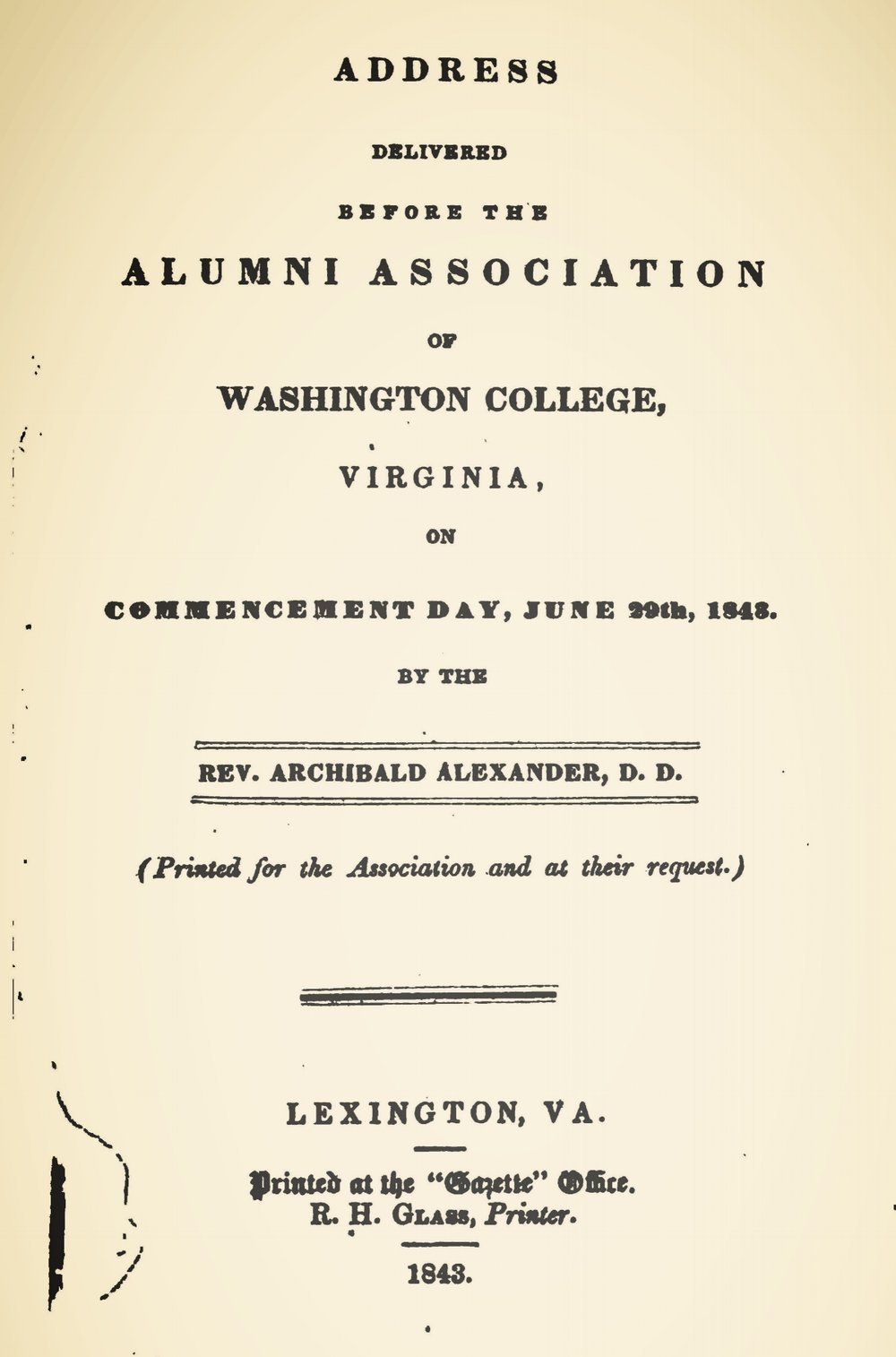 Alexander, Archibald, Address Delivered Before the Alumni Association of Washington College Title Page.jpg