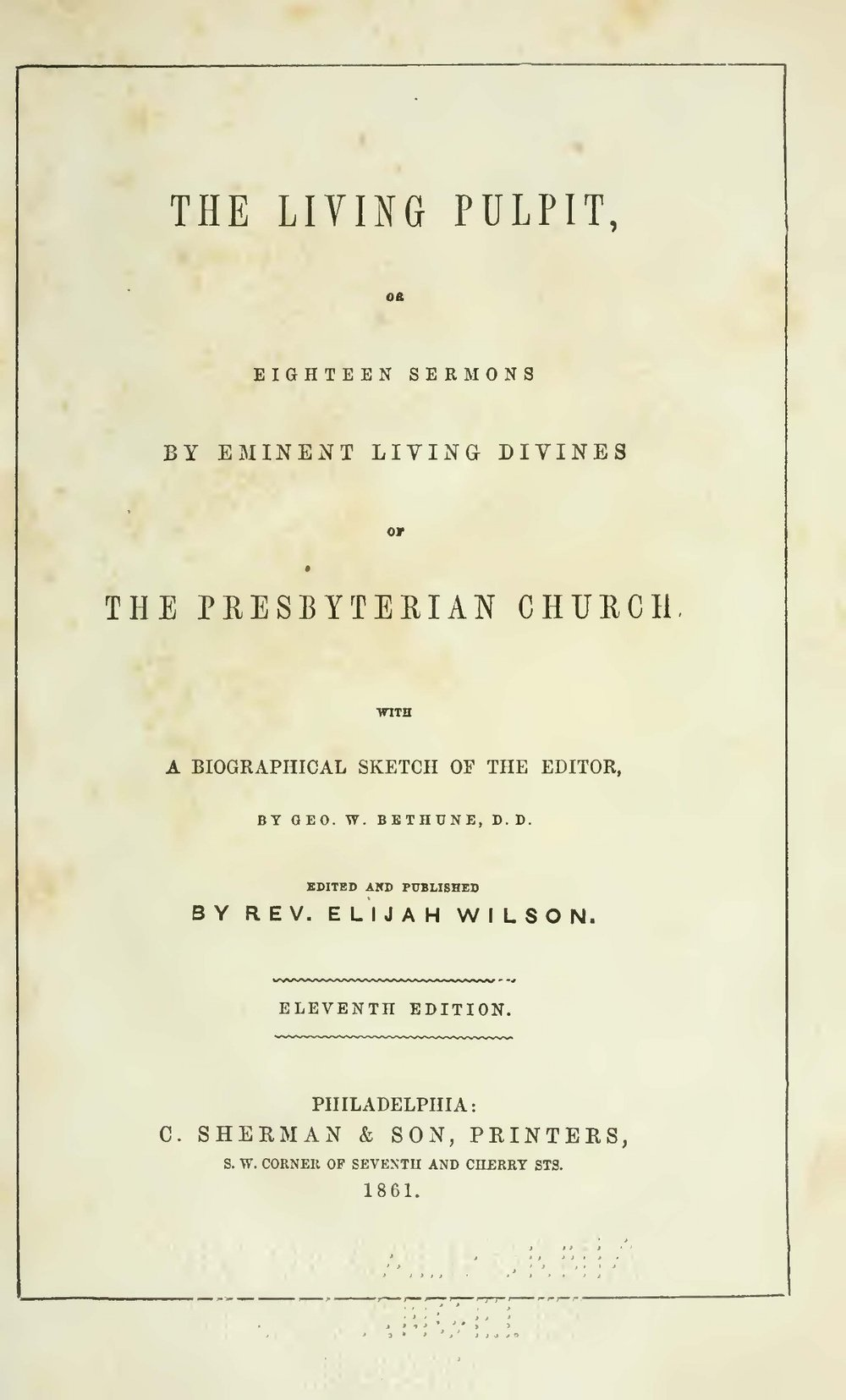 Wilson, Elijah, The Living Pulpit Title Page.jpg