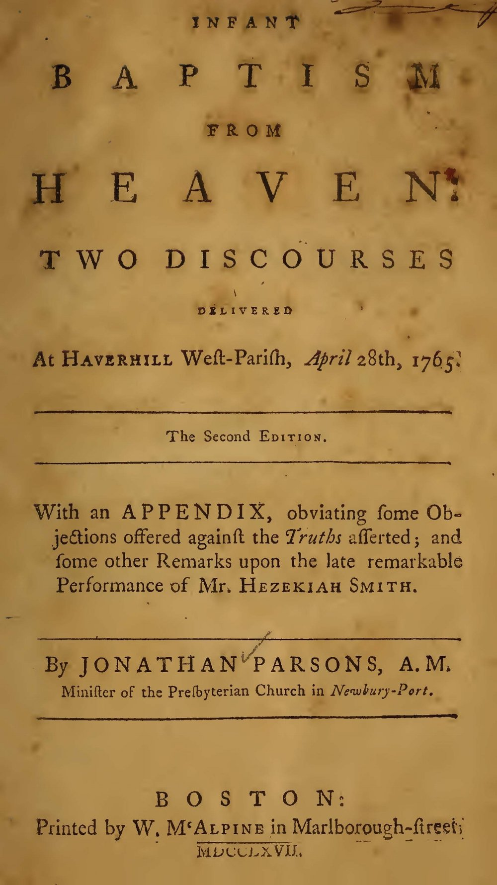 Parsons, Jonathan, Infant Baptism From Heaven Title Page.jpg