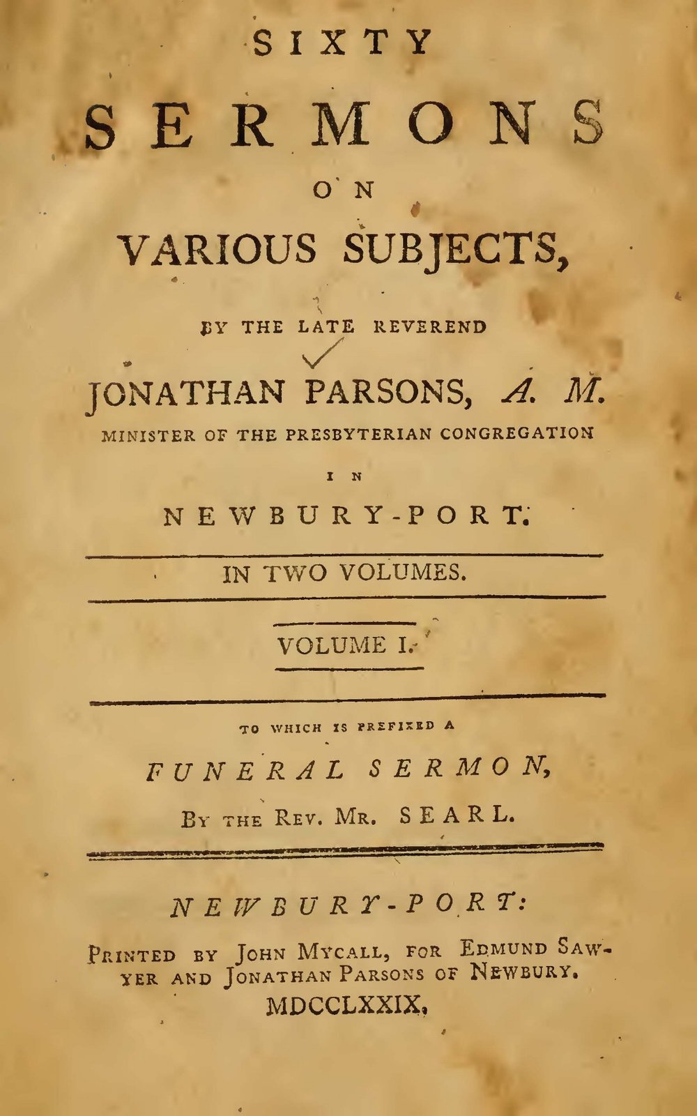 Parsons, Jonathan, Sermons on Various Subjects Title Page.jpg