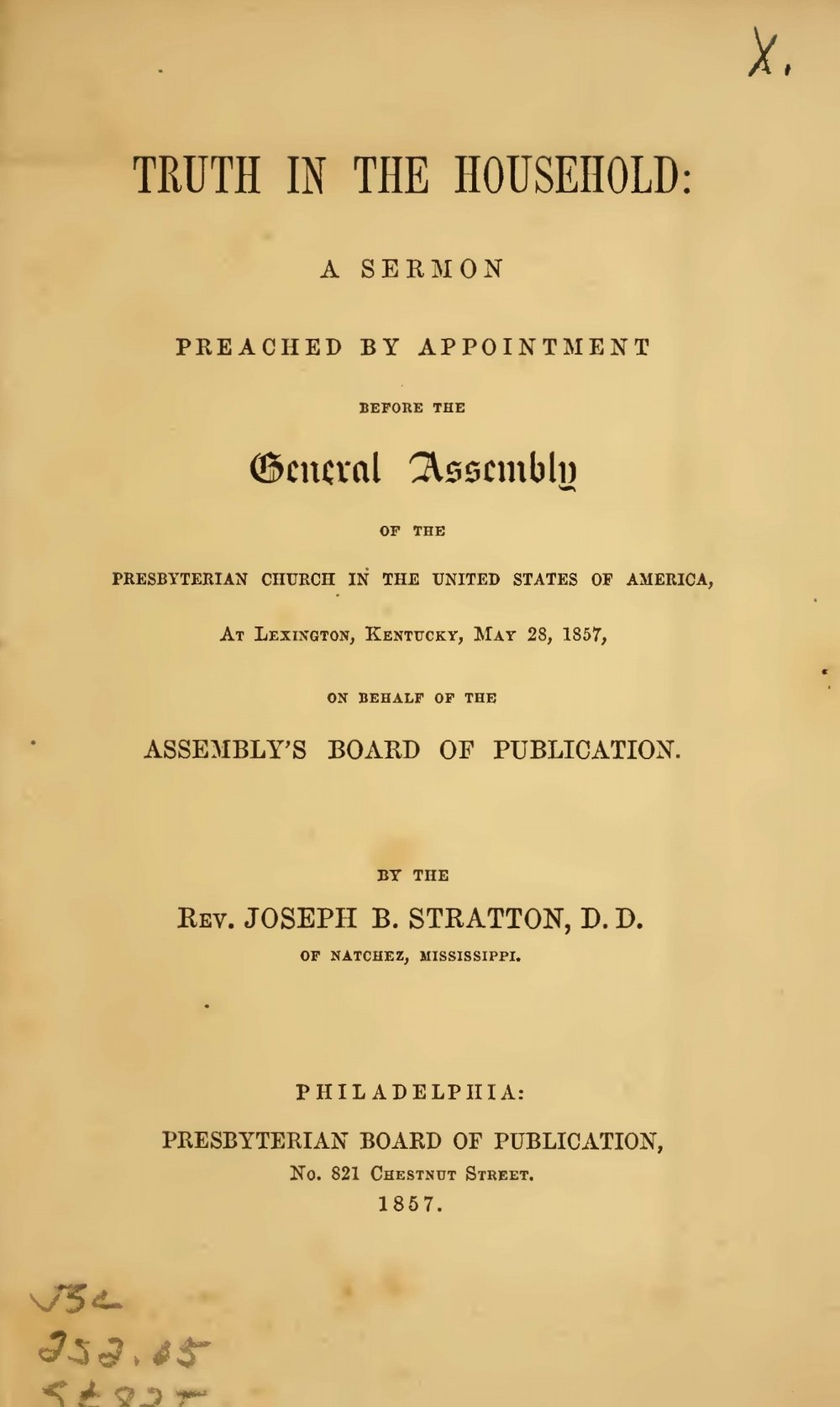 Stratton, Sr., Joseph Buck, Truth in the Household Title Page.jpg